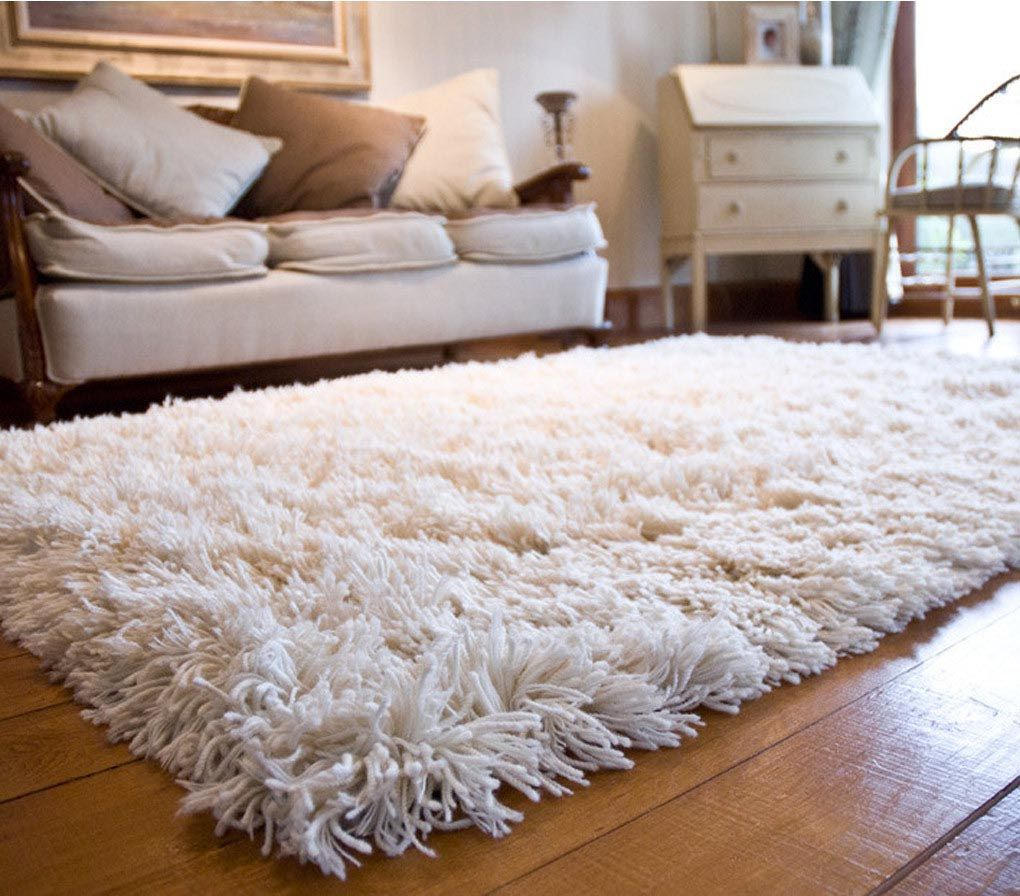 Superieur White Fuzzy Area Rug