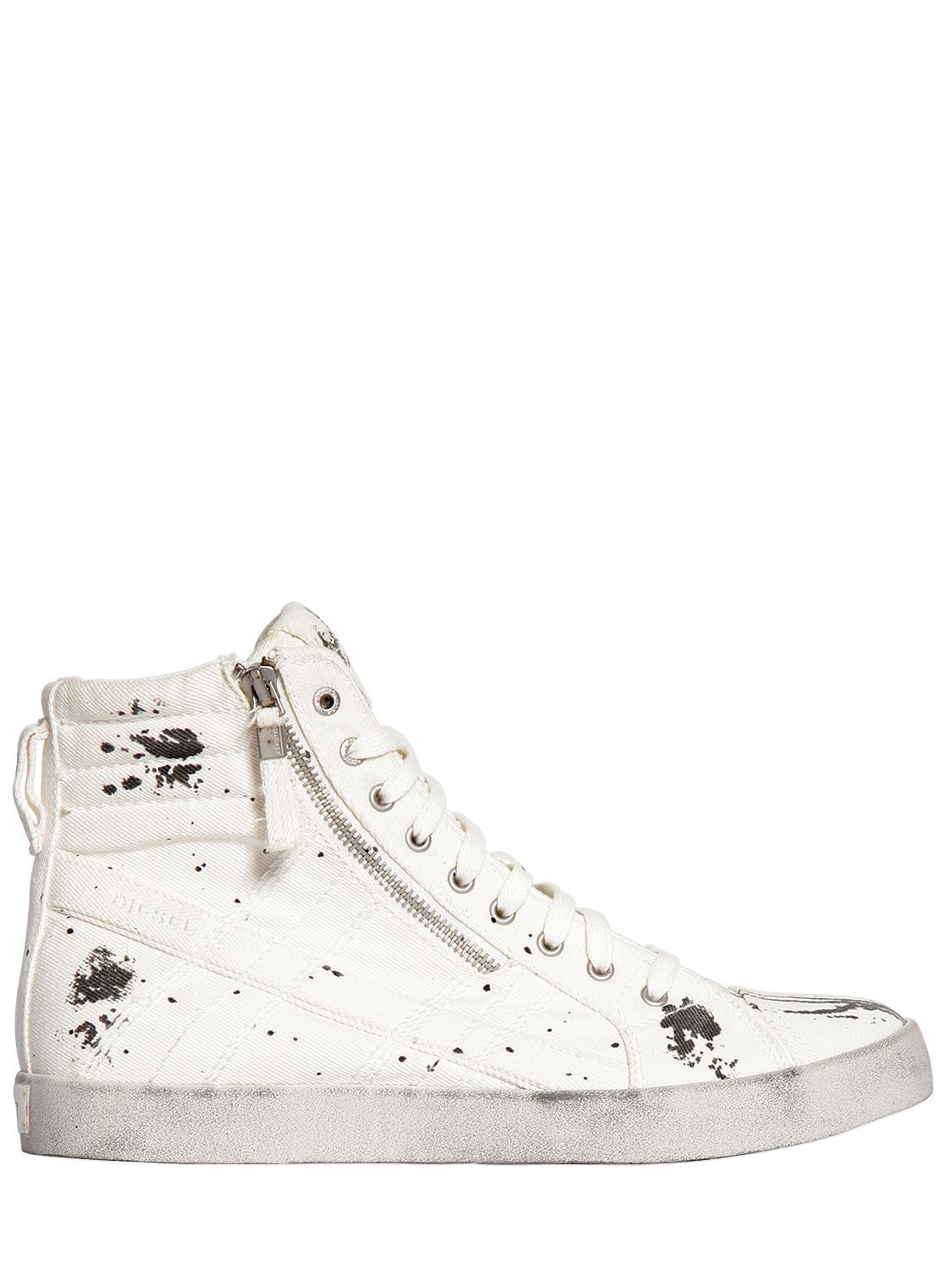 Diesel SPRAYED SIDE ZIP HIGH TOP SNEAKERS