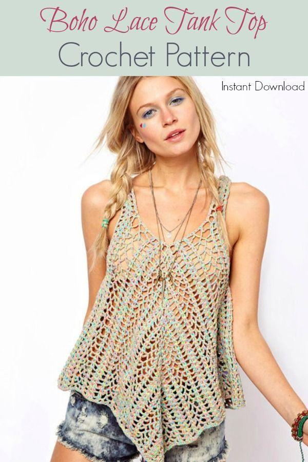 Adorbs Boho Lace Tank Top Crochet Pattern Summer Crochet Pattern