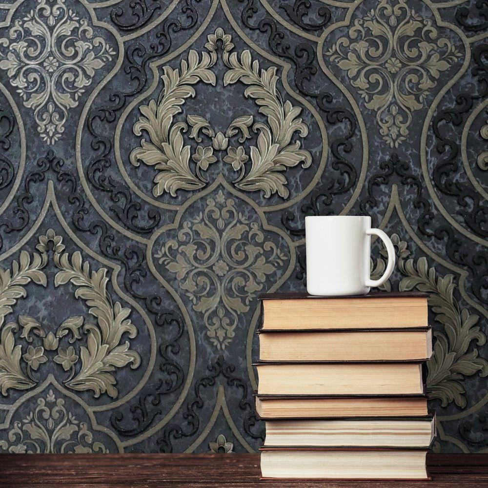 Modern Charcoal Gray Natural Terra Mica Stone Wallpaper Plain Glitter Effect Ebay Victorian Wallpaper Damask Wallpaper Living Room Damask Wallpaper