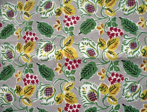 1930s Nouveau Floral on Dove Gray Cotton by lostnfounddrygoods, $22.00
