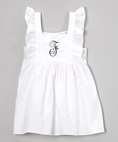 White & Navy Initial Angel-Sleeve Dress - Infant, Toddler & Girls #zulily #zulilyfinds