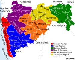 New Zealand District Map.Map Of Maharashtra With Different Regions And Districts