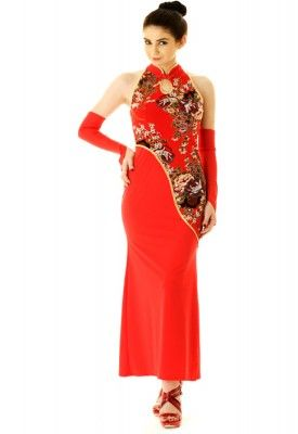 Deep Red China Dress Luxurious long Chinese dress in luxurious deep red stretch material with vibrant flower design print pattern.
