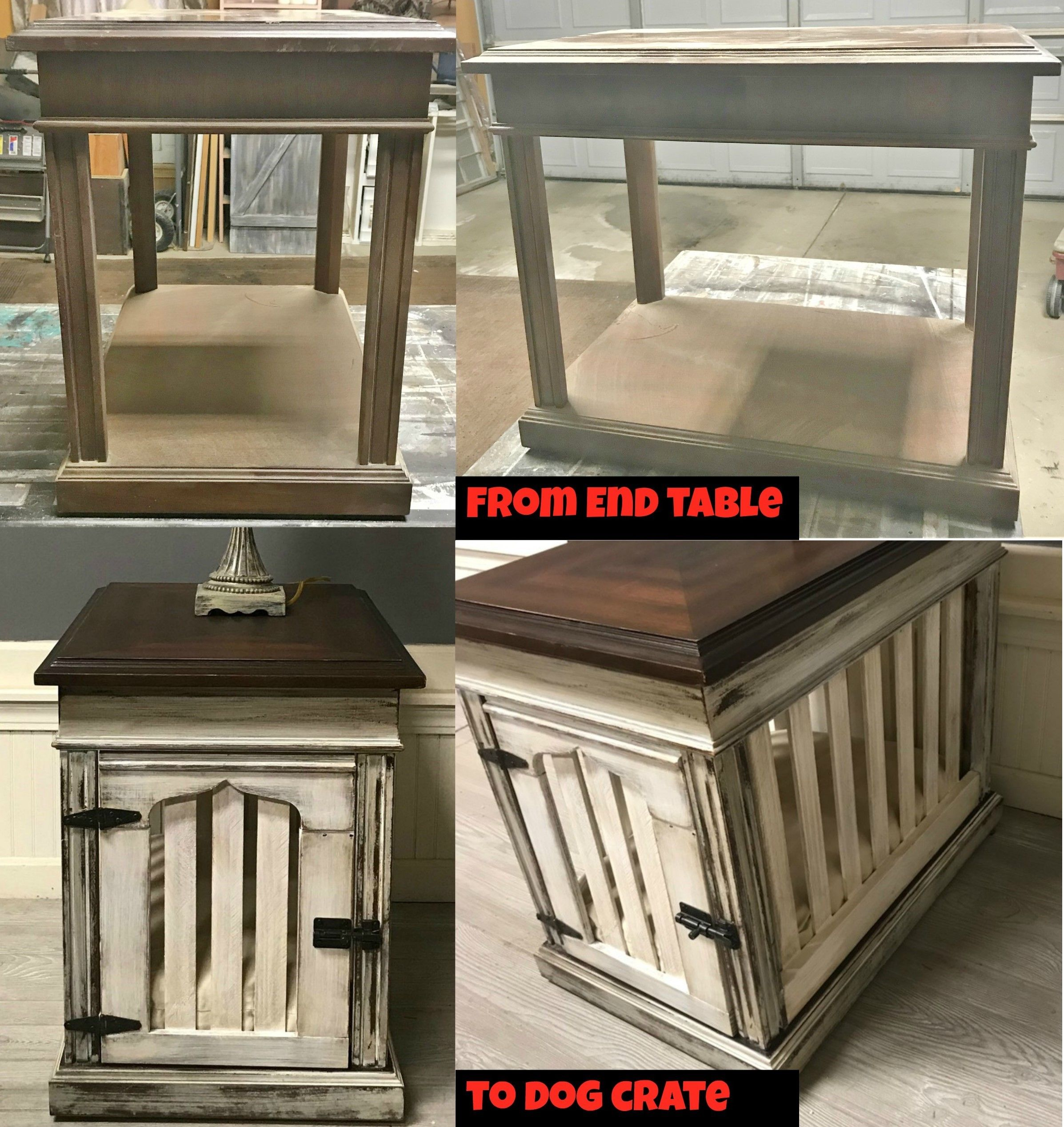 DIY Dog Crate End Table Dog crate end table, Crate end