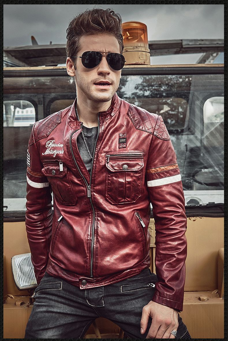1f40cbd7b25 2018 Leather Jacket Men 100% Genuine Leather Outerwear Slim Fit Real  Sheepskin Coat Short Motorcycle Jacket Rider Coat