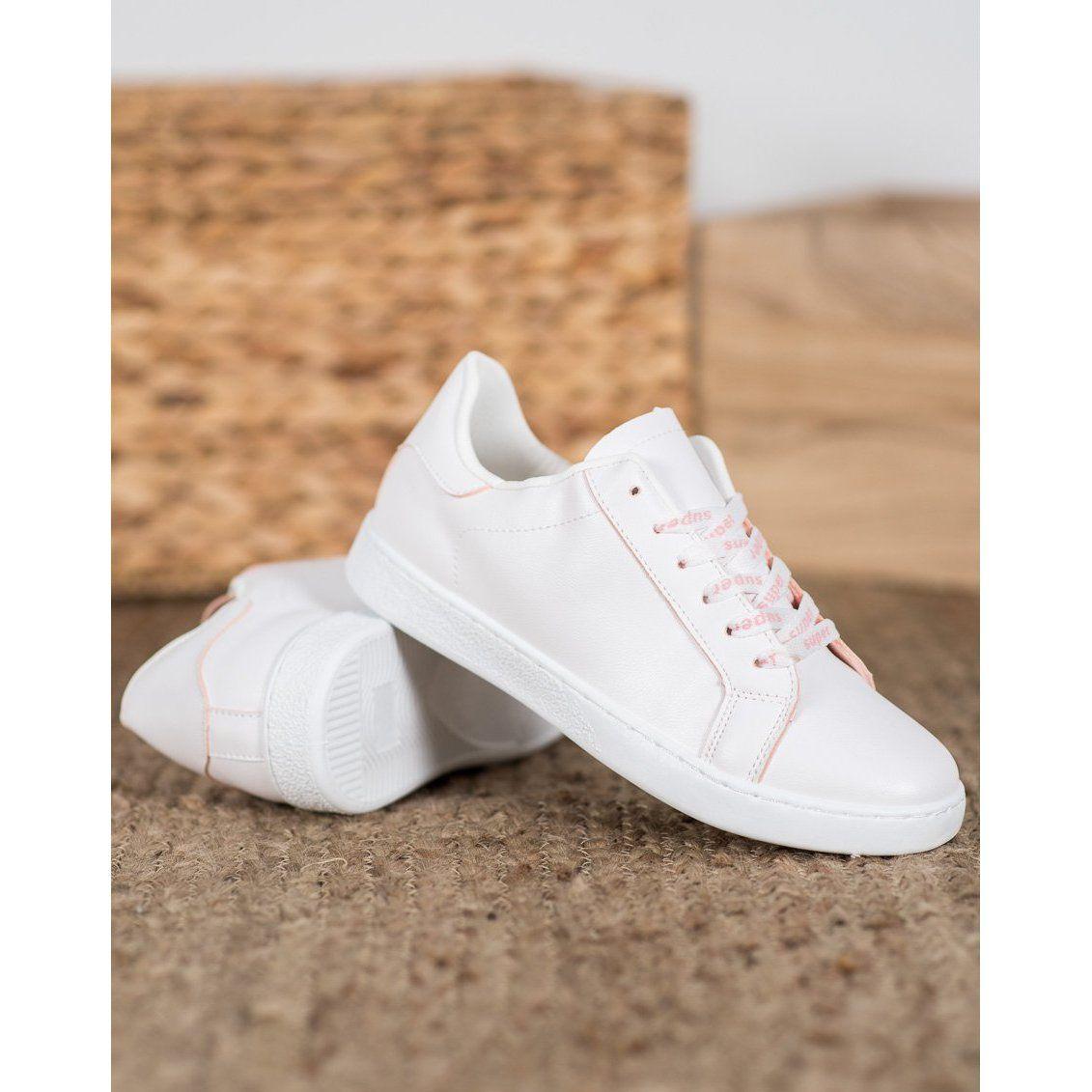Shelovet Buty Sportowe Super Biale Rozowe White Sneaker Wedding Sneaker Shoes