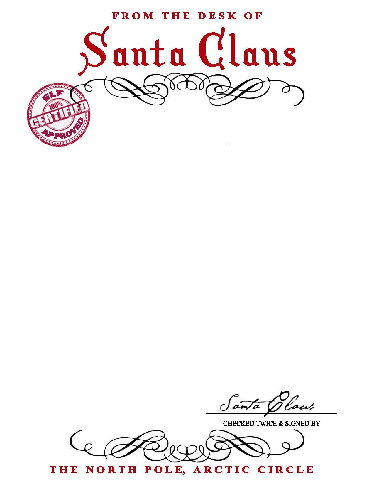 SANTA CLAUS LETTERHEAD Will bring lots of joy to children – Santa Letter Template