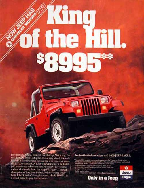 Chrysler Jeep Eagle Magazine Ad Jeep Yj Jeep Wrangler Jeep