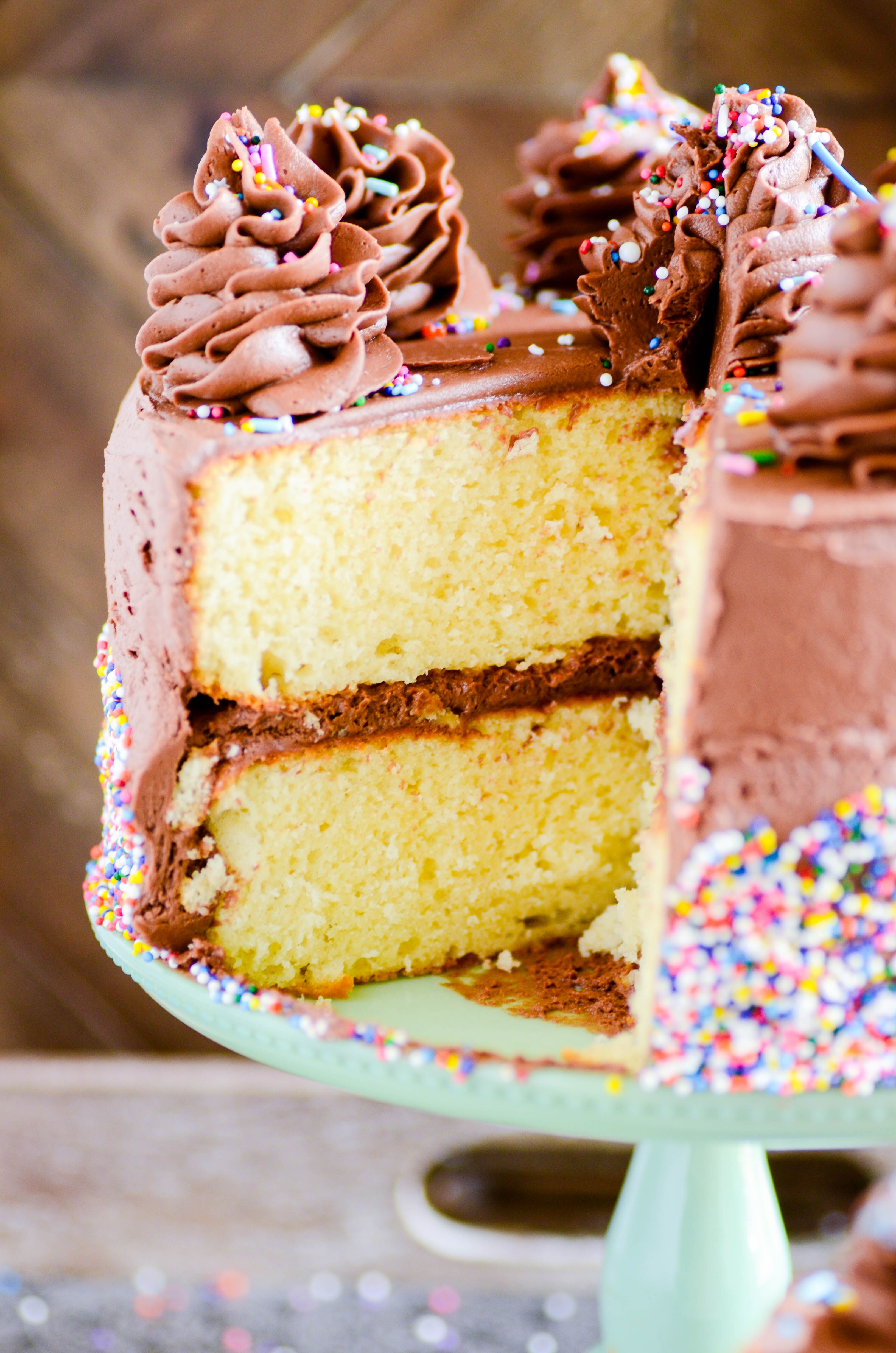 Yellow Cake With Chocolate Frosting Recipe With Images