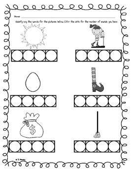 phoneme segmentation worksheet   ela phonemic awareness  phoneme segmentation worksheet