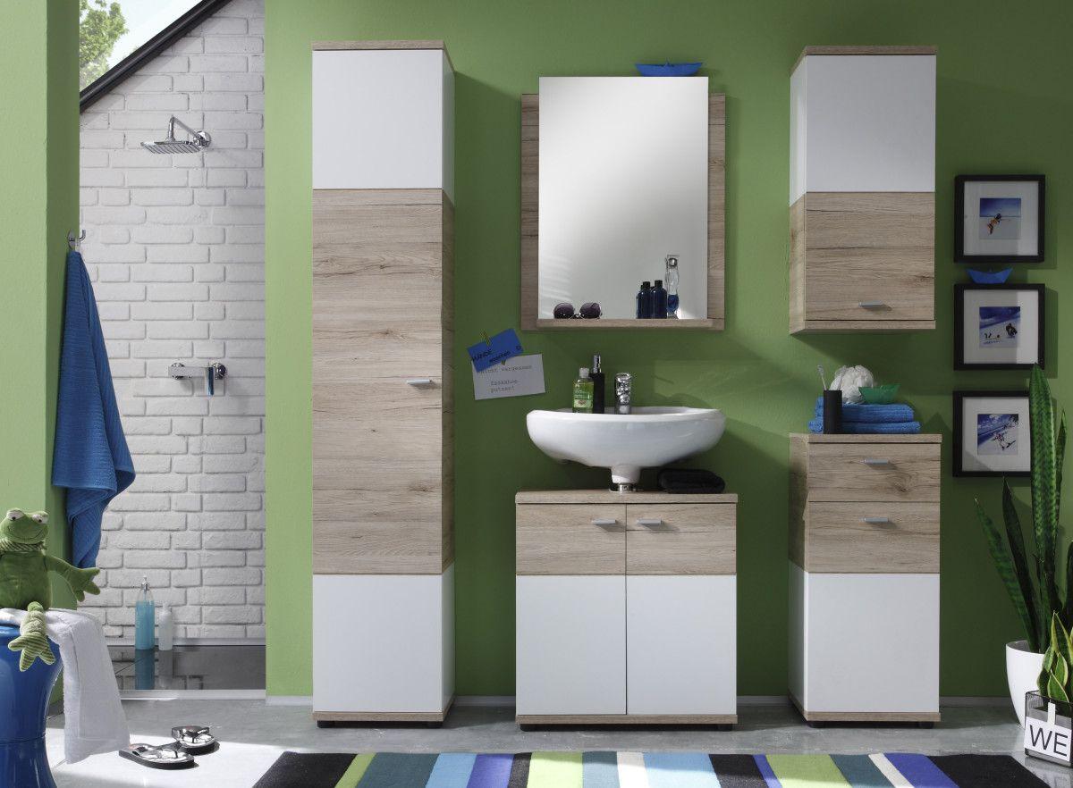 Badezimmer Holzmöbel ~ Badezimmer san remo eiche weiss trendteam campus holz modern