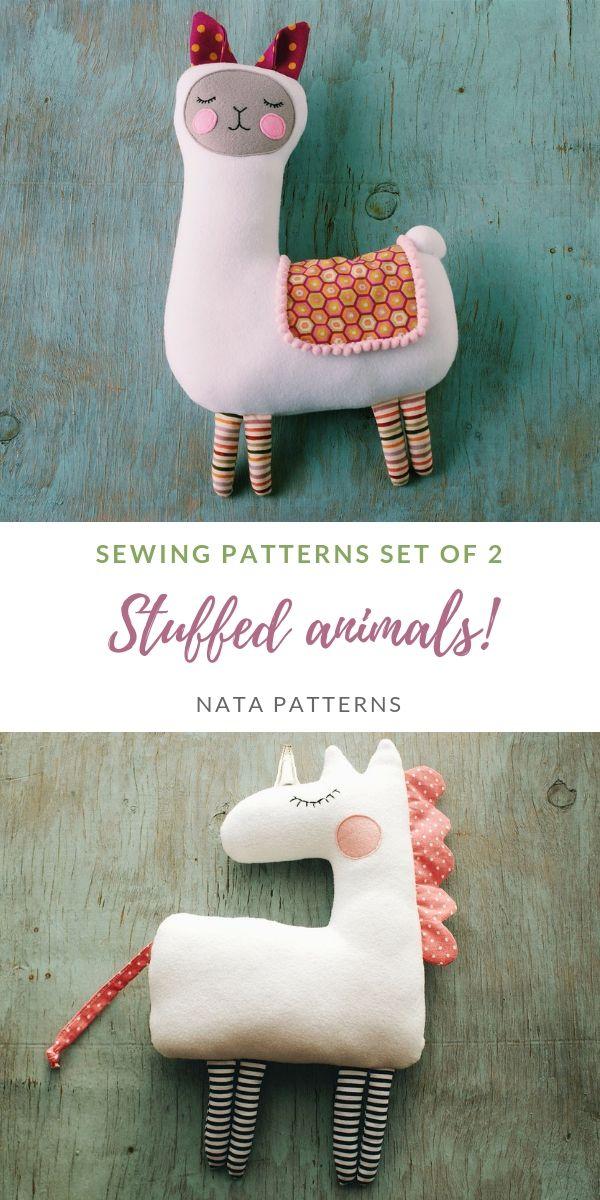 Stuffed animal sewing pattern PDF Llama plush toys Unicorn fabric tutorial Animal doll for kids Unicorn Llama birthday party Baby shower PDF #instructionstodollpatterns