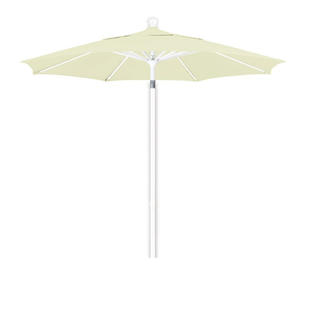 7 1/2 Foot Pacifica Fabric Aluminum Pulley Lift Patio Patio Umbrella with White Pole, 20 Colors