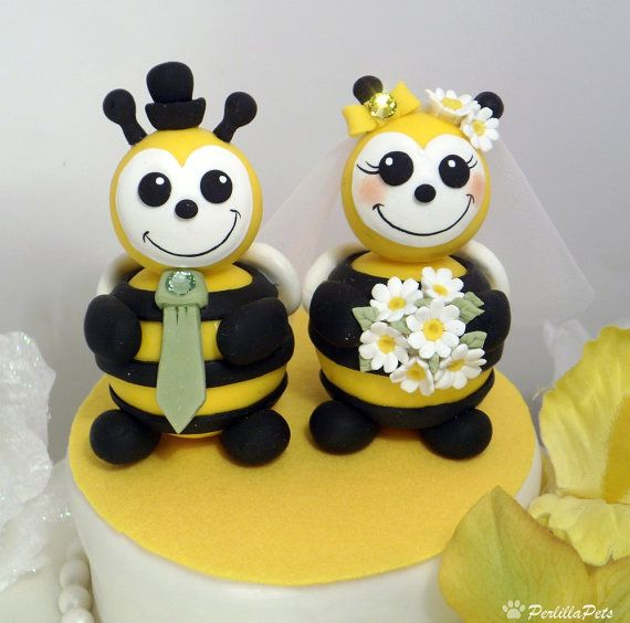 Custom wedding cake topper, bee and walrus cake topper, bride and ...