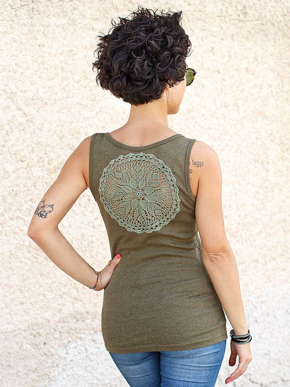 Olive green Tank Top with upcycled vintage crochet doily back - Size S-M #katrinshine #etsy #tank #top #clothing #fashion #oliv_green #moss_green #military_green #khaki_green #upcycled