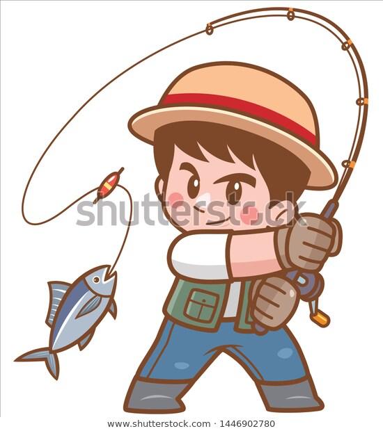 Vector Illustration Cartoon Boy Fishing Stock Vector Royalty Free 1446902780 In 2021 Cartoon Boy Boy Fishing Vector Illustration