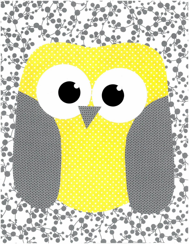 Yellow and Grey Owl Nursery Artwork Print // Baby Room Decoration ...
