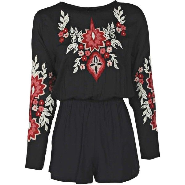 512222656c Boohoo Denise Embroidered Floral Long Sleeve Playsuit ( 44) ❤ liked on  Polyvore