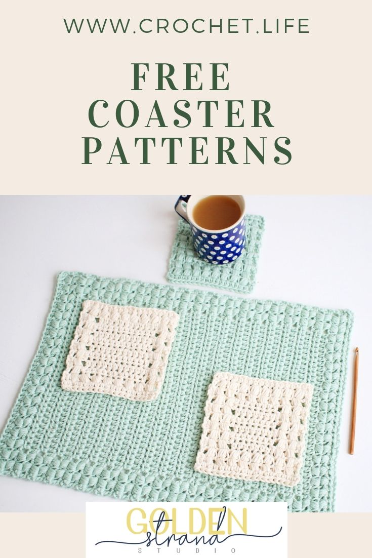 2 Free Coaster Patterns - Easy crochet pattern by GoldenStrandStudio ...