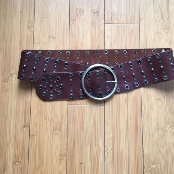 Brown leather belt Holes for 33-37 inches Accessories Belts