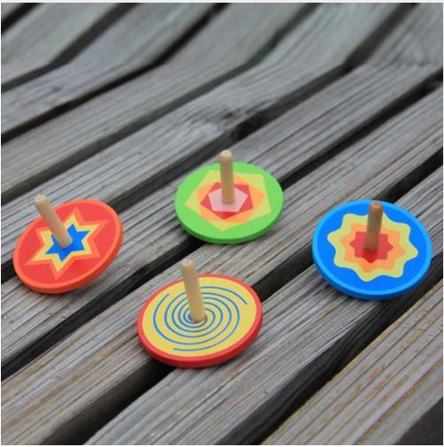 Handgemachte Blumen Kreisel aus Holz Kinder Spielzeug Geschenk Holzkreisel