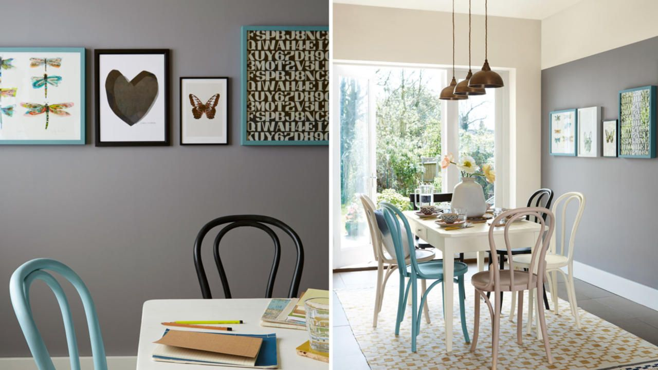 deep fossil and egyptian cotton dining room | colour ideas