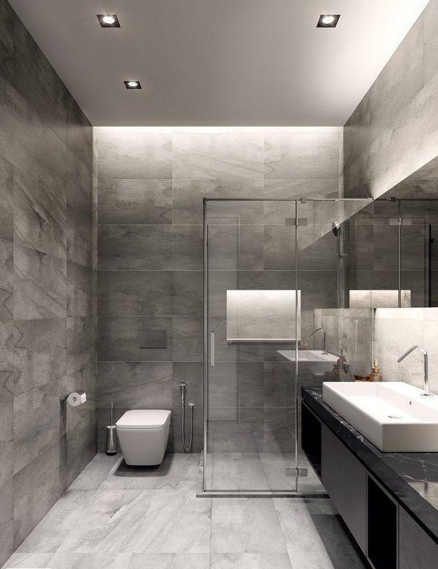 Dise o de ba os modernos en color blanco y gris l neas - Revestimiento banos modernos ...