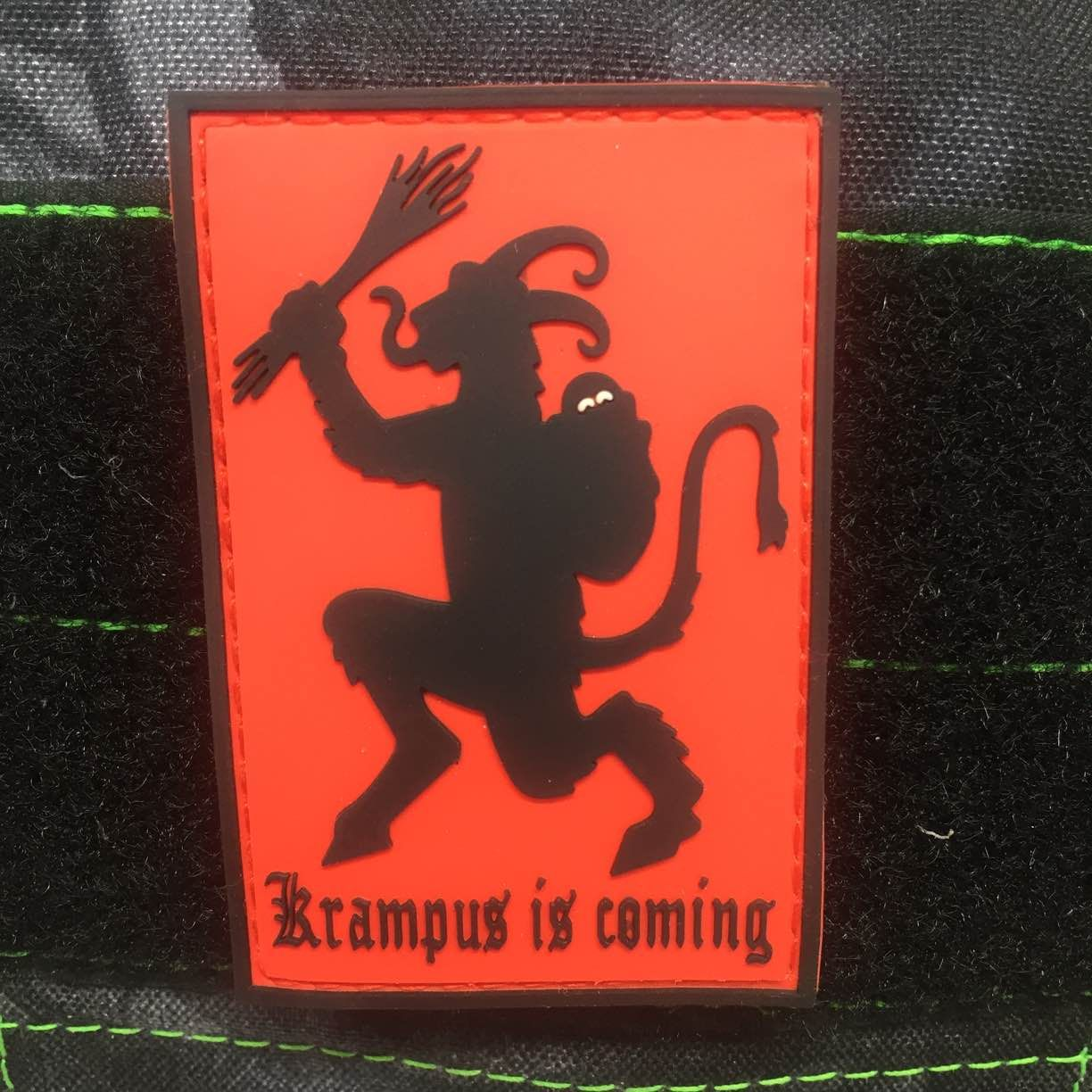 """7 plus 7 shippingYou better no shout, you better not cry, you better not be a little asshole I'm telling you why...  Krampus is coming to town. 3""""x2"""" pvc velcro backed patch"""