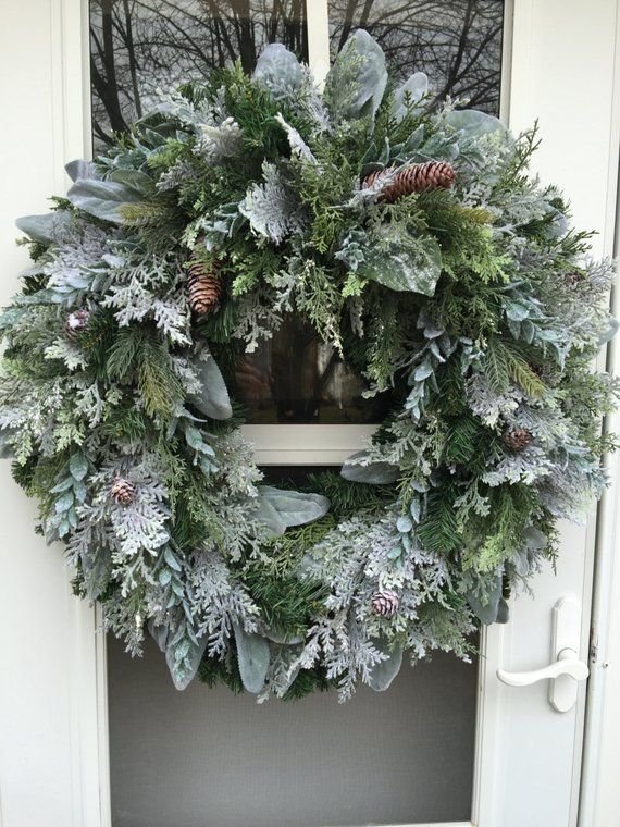 Photo of Sale!! Frosted Lush Greens & Pinecones Wreath