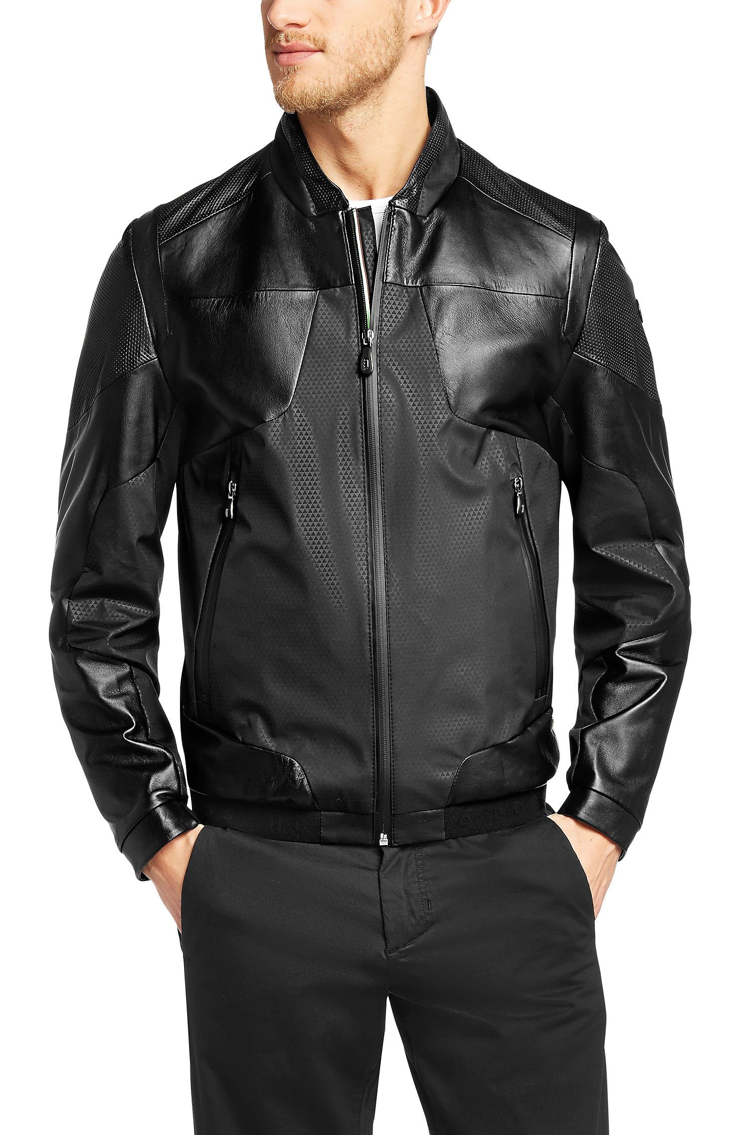 Boss Green Jimero Leather Jacket Black Free Shipping Mens Designer Leather Jackets Leather Jacket Men Leather Jacket [ 2275 x 1500 Pixel ]
