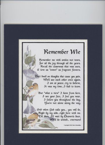"""""""Remember Me"""" Touching 8x10 Bereavement Poem, Double ..."""