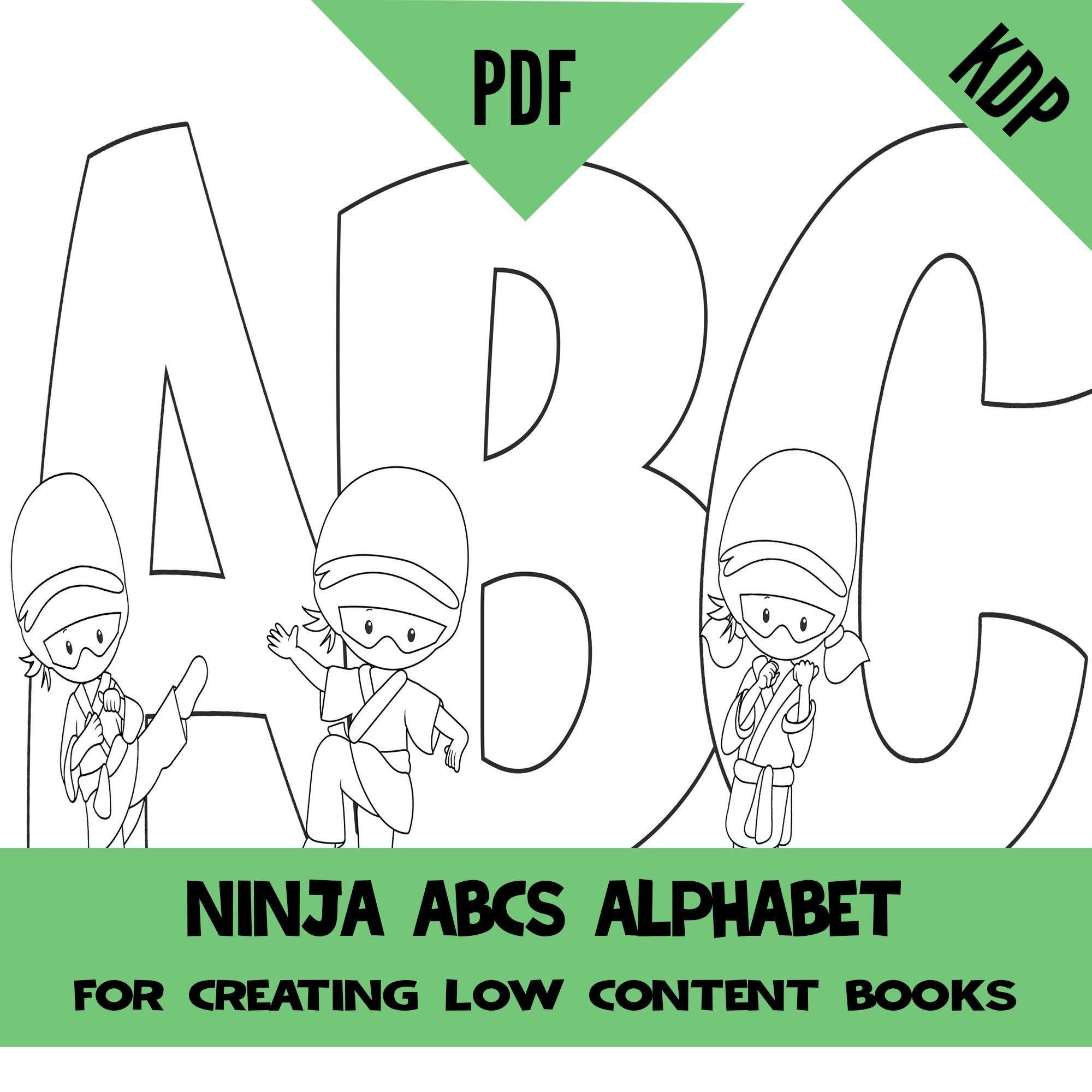 Kdp Abc Alphabet Ninja Coloring Interior Pages Sheets Pdf Etsy Abc Alphabet Coloring Books Abc