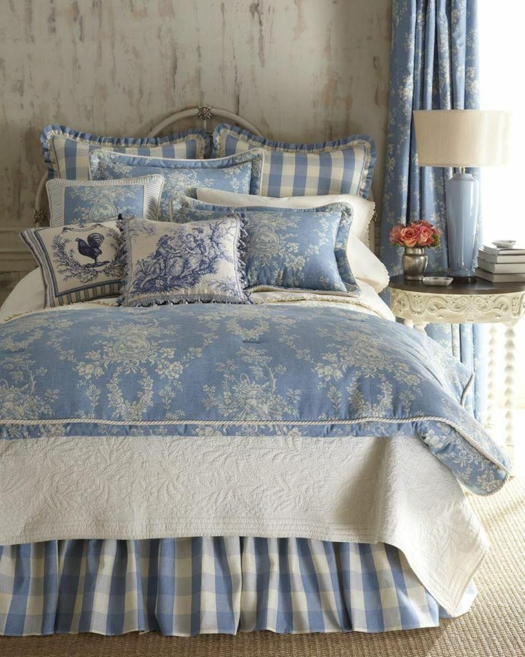 Blue and white toile bedding - Vintage French Soul Girly Blue Clasic Bedroom Design Ideas With Red Arch Lamp And Also With White Bed And The Red Rose Decoration Jpg