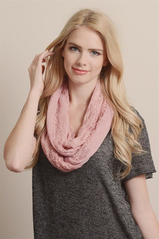 Dusty Pink Lace Infinity Scarf-Black Friday Deal