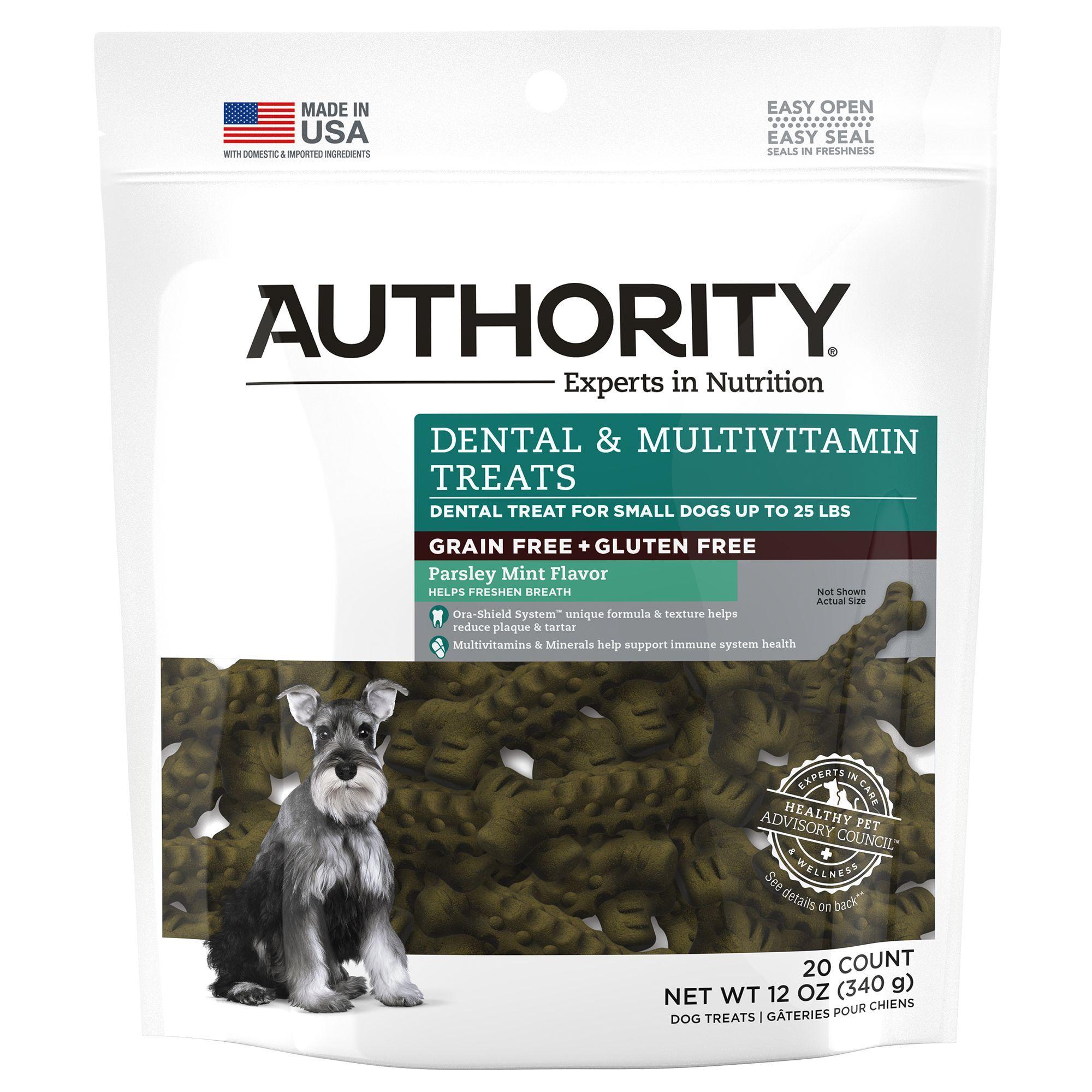 Authority Dental und Multivitamin Small Dog Treat – Getreidefrei, Glutenfrei, Petersilie Minze Größe: 20 Graf, Grün   – Products