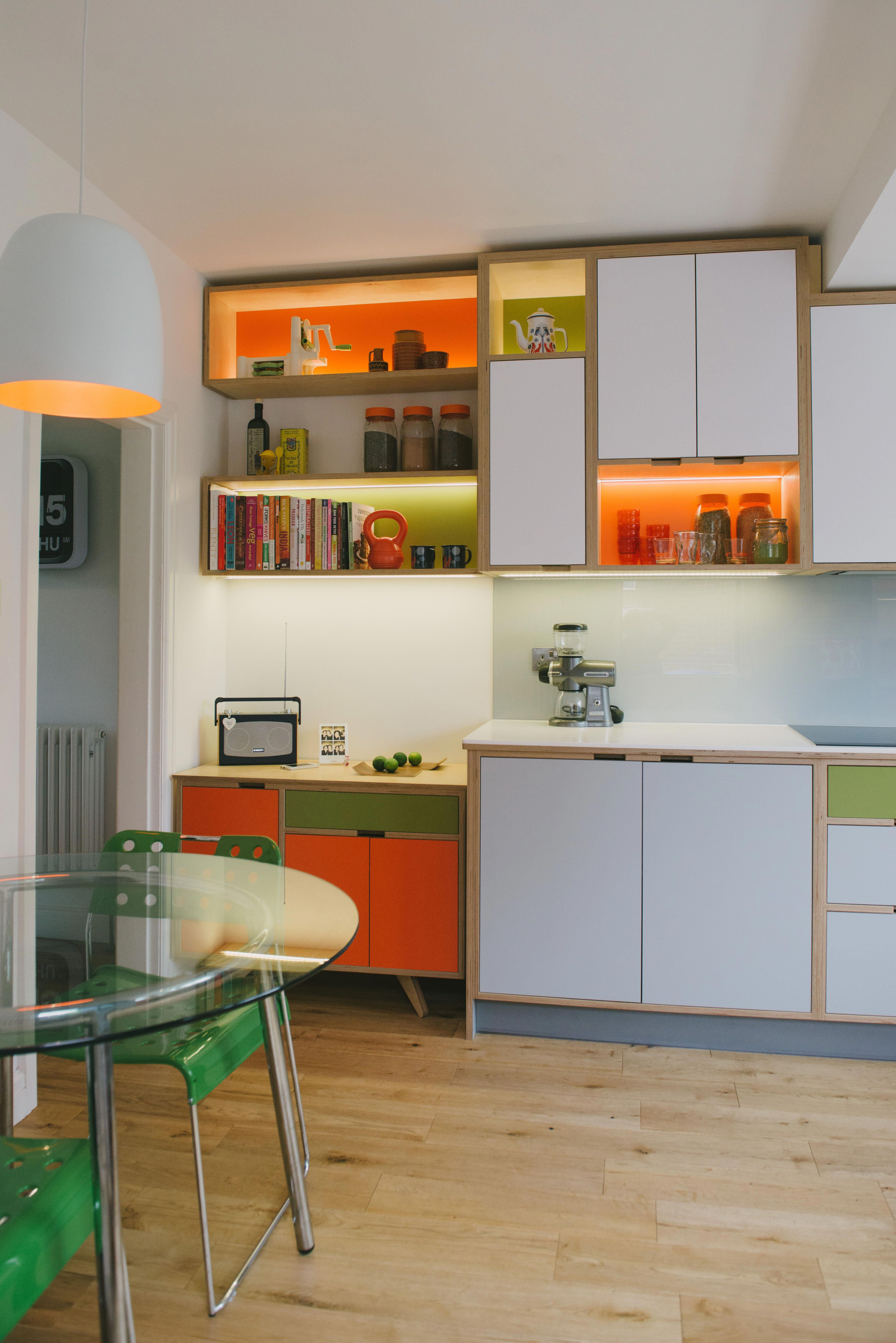 Wood Wire Bespoke Plywood Kitchen White Orange And Green Laminated Plywood Units With Illuminated Or Plywood Kitchen Kitchen Design Cheap Kitchen Cabinets