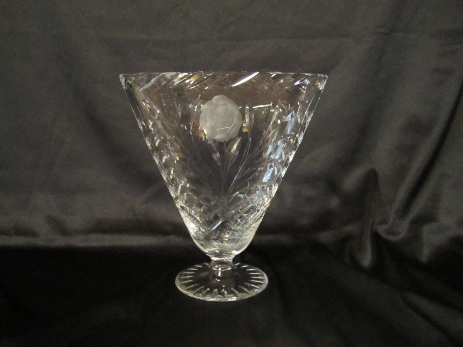 Awesome Cut Crystal Fan Shape Vase by casellascreations on Etsy