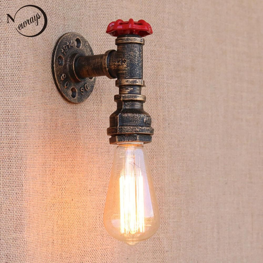 Steam punk Loft Industrial iron rust Water pipe retro wall lamps ...