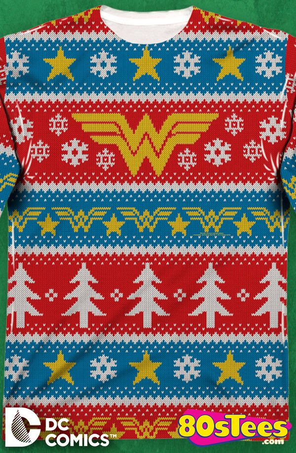 wonder woman faux christmas sweater dc comics mens long sleeve shirt wonder womans popular logo is eye catching in the overall artfully designed and