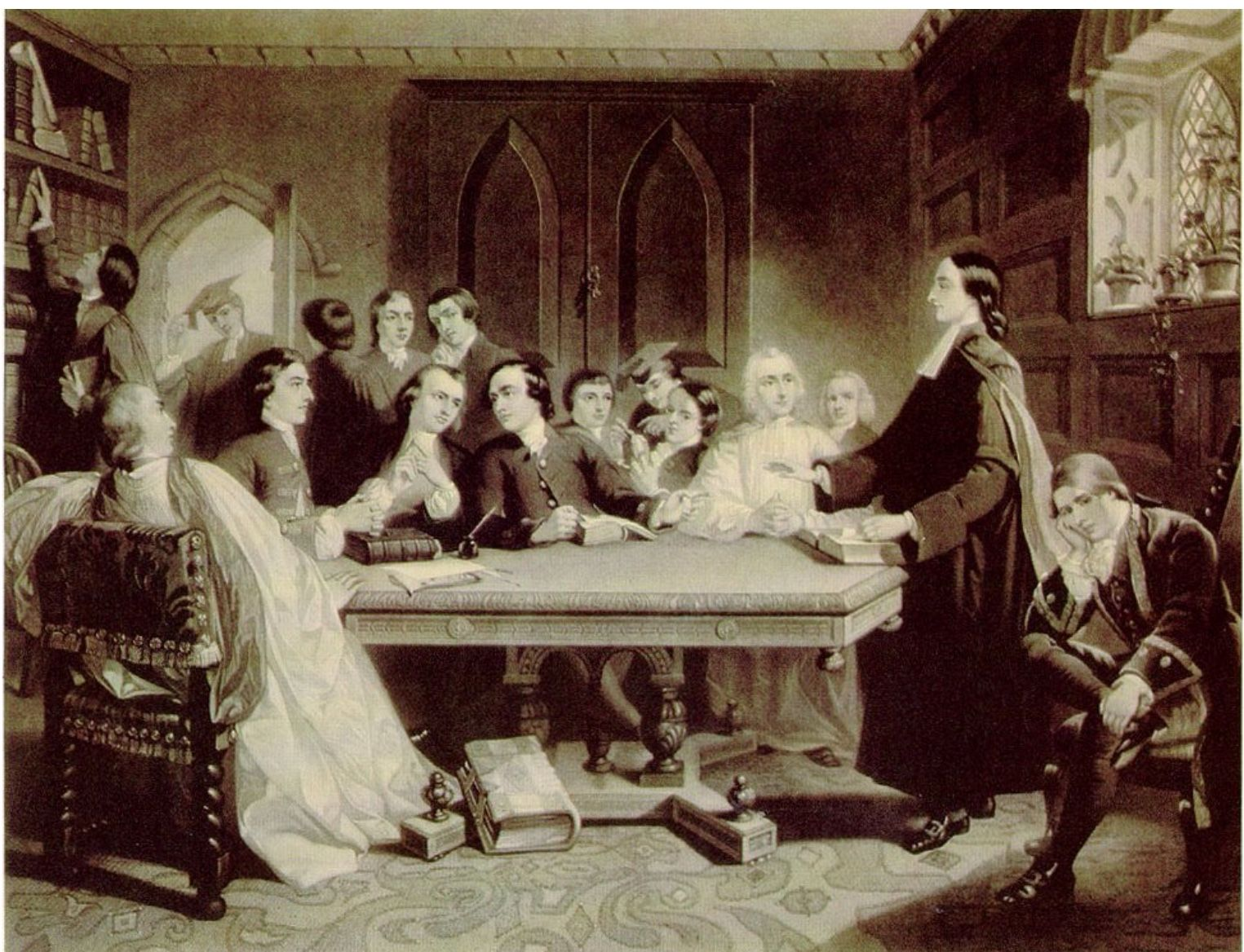 """""""The Holy Club in Session."""" Engraving by S. Bellin after"""