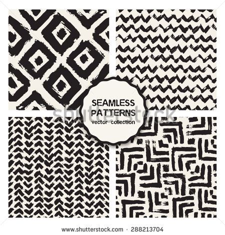 Vector set of four seamless patterns. Stylish collection with tileable swatches. Monochrome prints, backgrounds made with brush strokes: triple chevron, hipster triangles - stock vector