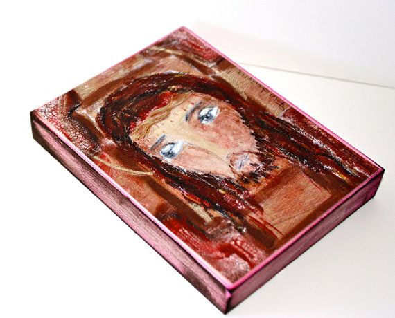 New Listing! Jesus  ACEO Giclee print mounted on Wood 2.5 x 3.5 by FlorLarios, $10.00