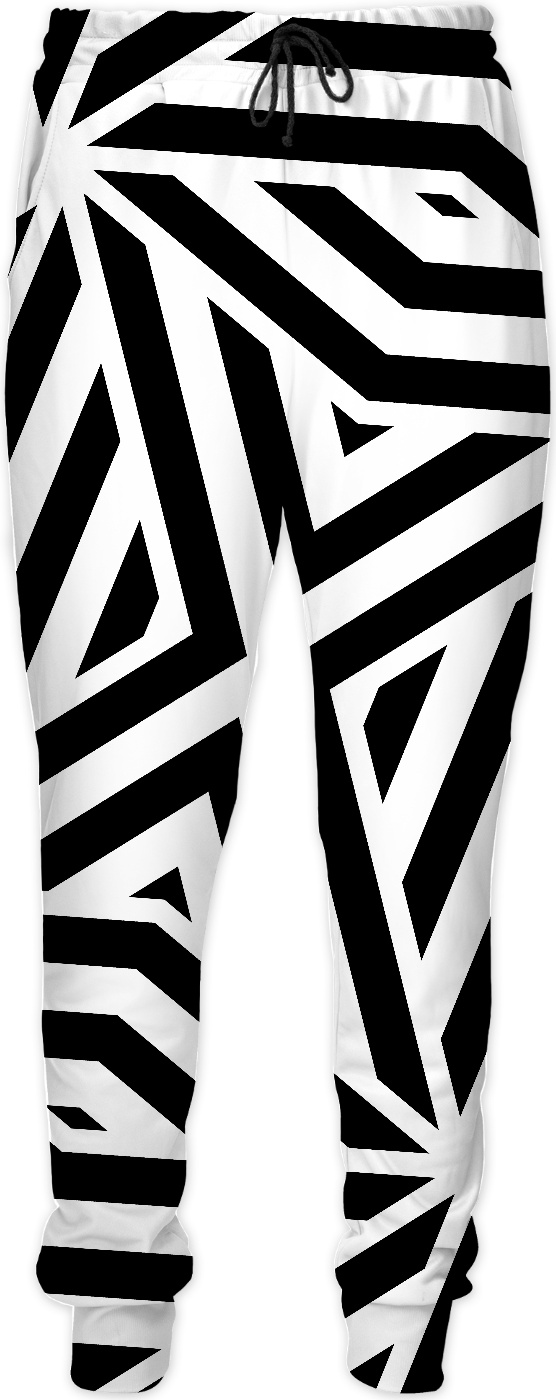 Asymetric Black And White Lines Pattern Men Joggers Geometric