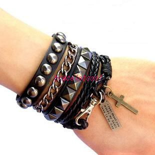 Urban Gothic style Genuine Black Leather /& Antiqued Metal Cross Bracelet