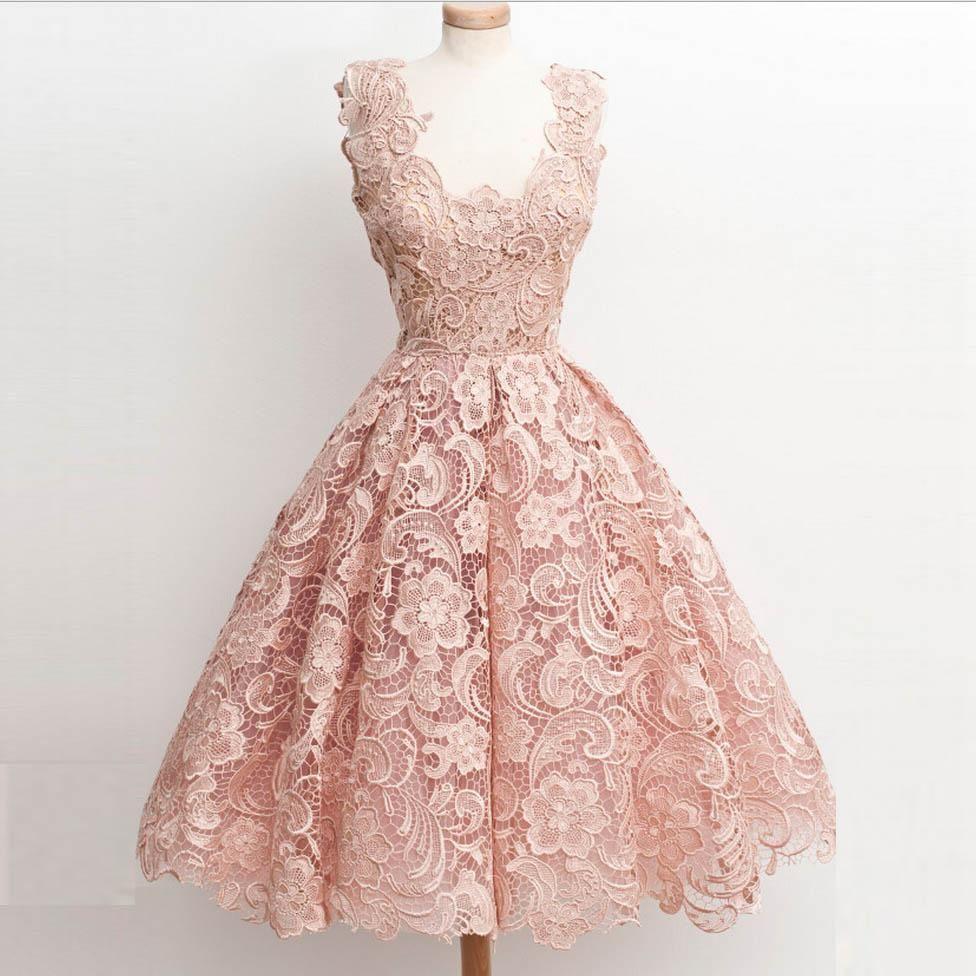 2016 Pink Homecoming Dresses Vintage Short Scoop Neck Full Lace ...