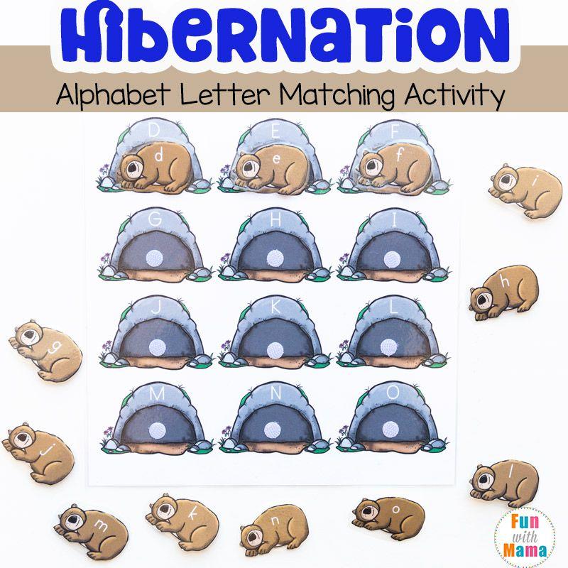 hibernation preschool alphabet letter matching activity winter preschool crafts ideas bears. Black Bedroom Furniture Sets. Home Design Ideas