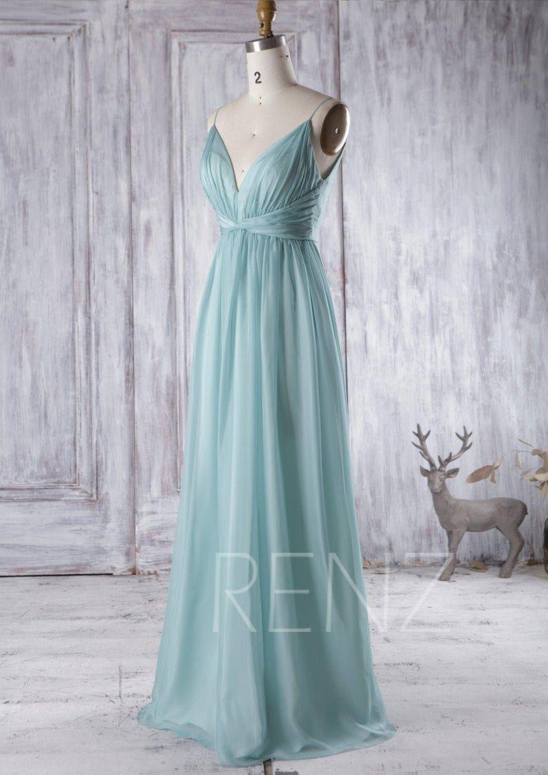 party dress soft teal chiffon bridesmaid dress ruched v neck