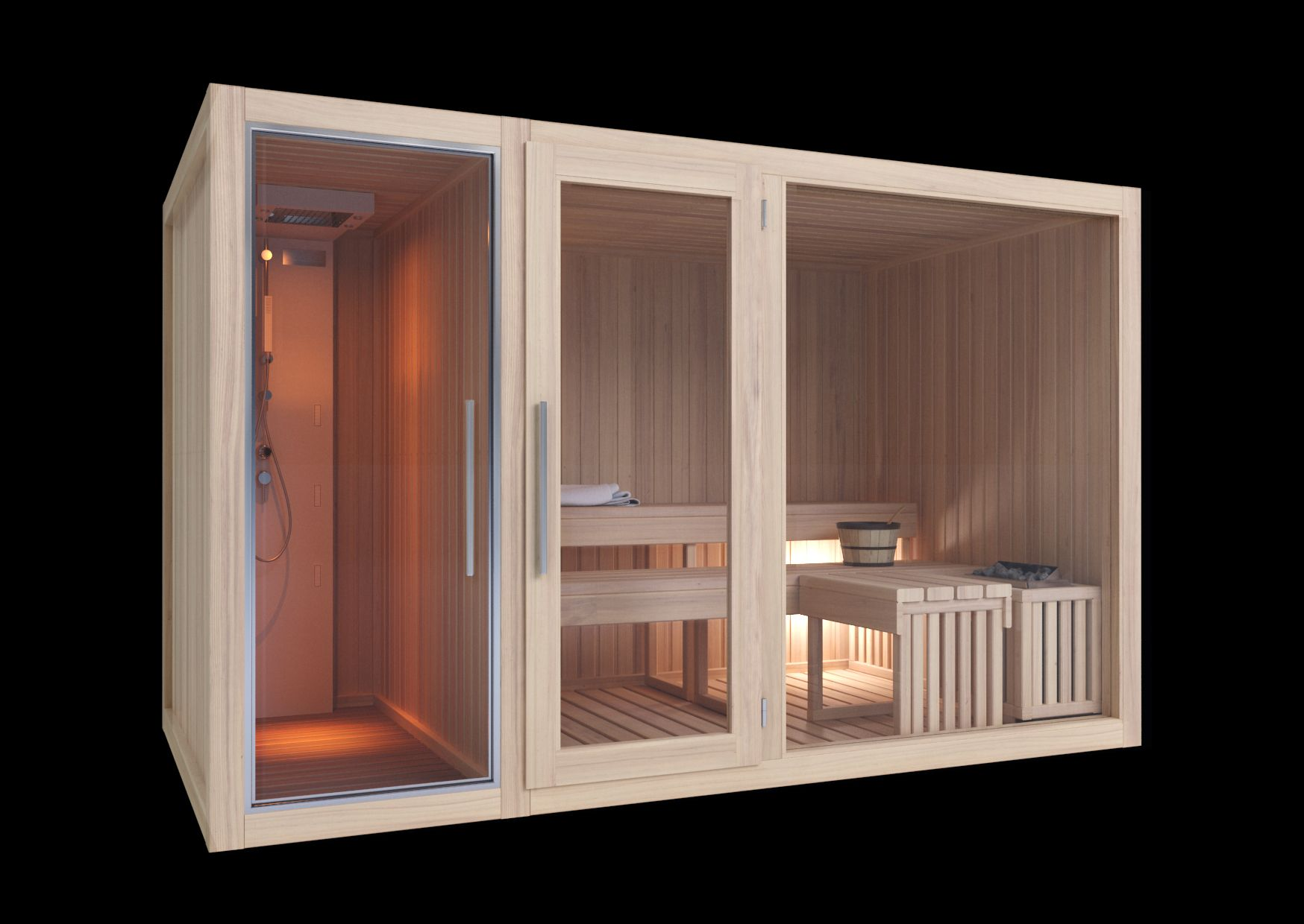 modelli sauna finlandese e sauna con bagno turco hammam in. Black Bedroom Furniture Sets. Home Design Ideas