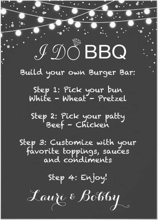 I Do Bbq Themed Build Your Own Burger Bar Sign I Do Bbq